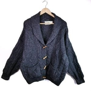 Arancrafts Cable Knit Cardigan Sweater Wool Sz XL